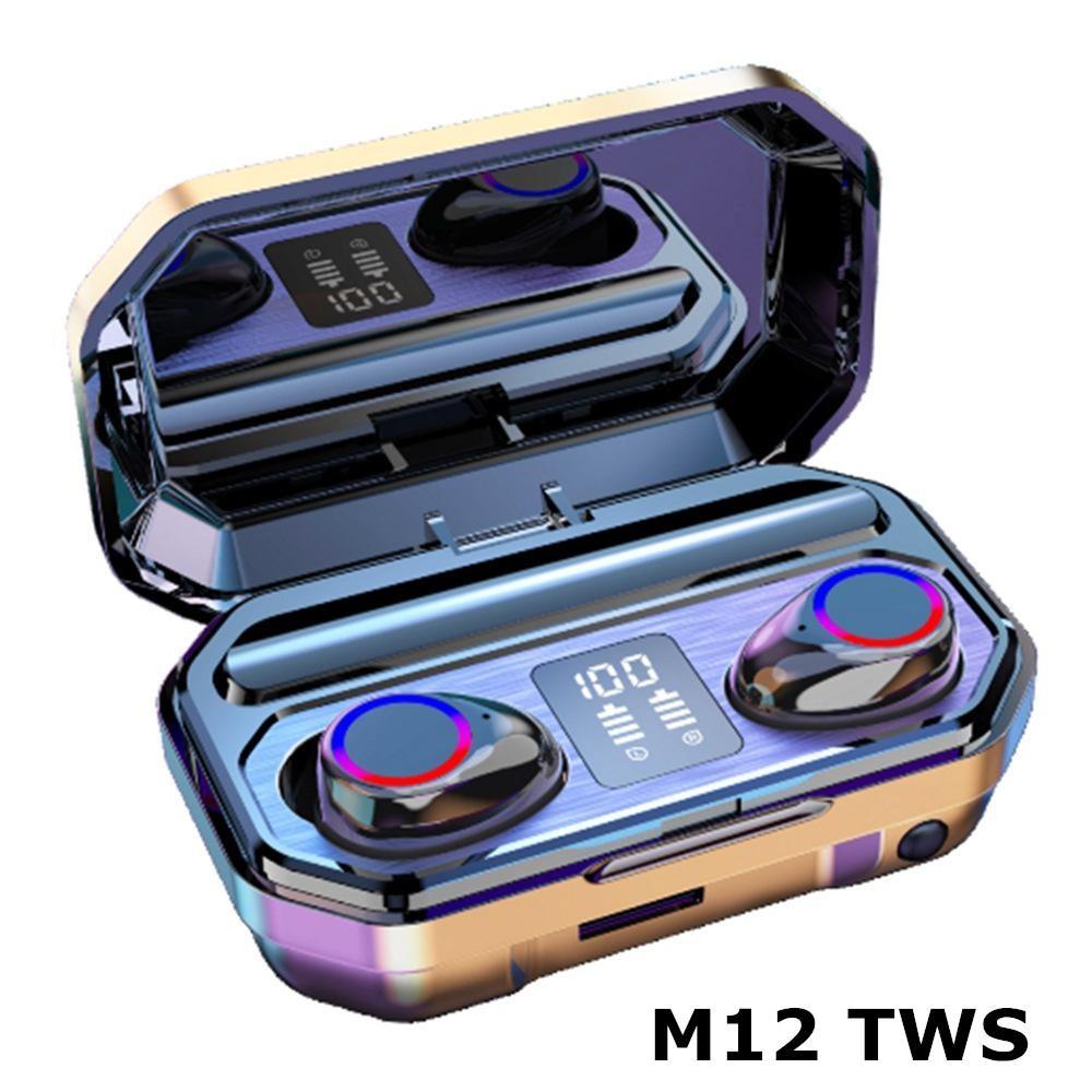 M12 TWS Kablosuz Kulaklıklar Bluetooth 5.0 Kulaklık HIFI Su Geçirmez Kulaklıklar Cep Telefonu için Spor Oyun Kulaklıklar Için Dokunmatik Kontrol Kulaklık
