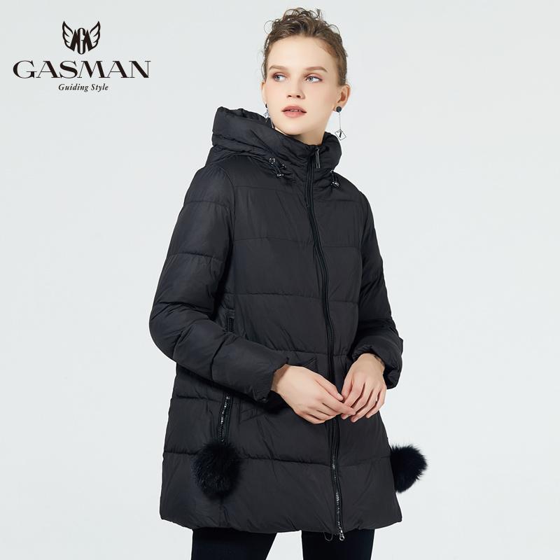 Gazman Yeni Kış Koleksiyonu Kapüşonlu Kadın Parkas Bir Çizgi Ceket Rüzgar Geçirmez Kadın Moda Kış Kalın Ceketler Aşağı Marka 18833 201203