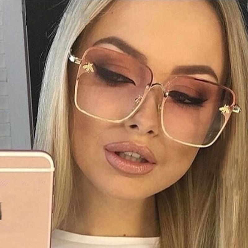 Novo 2021 Lady Pequeno Rimless Mulheres Óculos Quadrados Óculos Moda UV400 Bee Gradient Marca Sol Oversize Feminino QKurn
