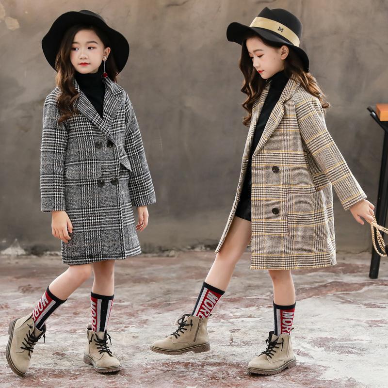 Winter Girls Coton Vestes Longues Vêtements De Vêtements De Vêtements De Vêtements Enfants Enfants Vêtements Enfants Casual Col Collier Plaid Woolen Coat 201110