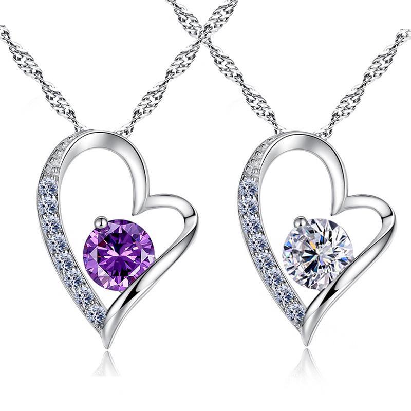 Crystal Necklace Austrian crystal Diamonds Love Heart Pendant Statement Necklace Class Elements women luxury Jewelry Love Necklace