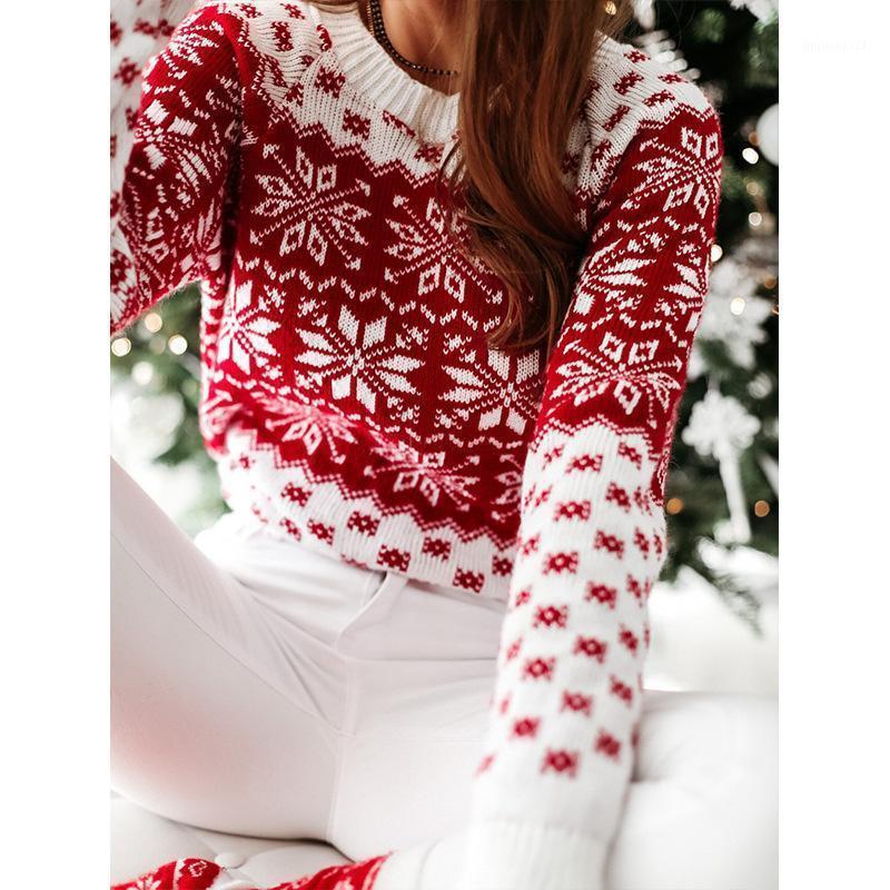 Джерси Муджер красный Рождественский свитер 2020 осень зима Новый вязаный свитер женщин рождественские снежинки с длинным рукавом Pull Femme Hiver1