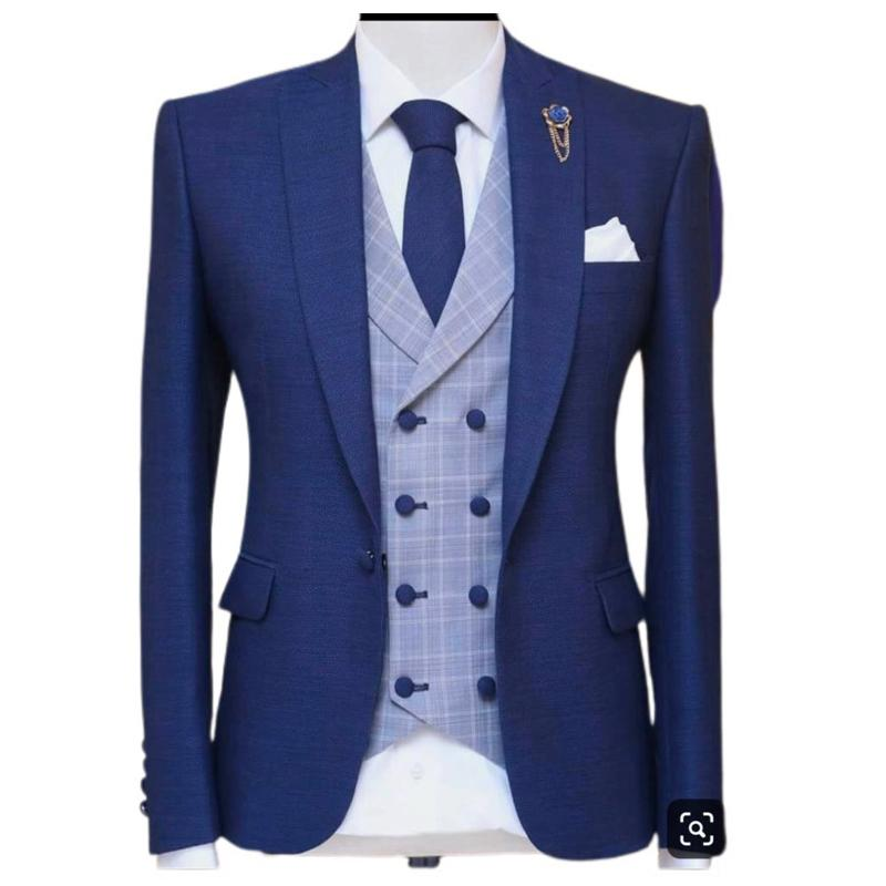 3 Piece Blue Men Suits for Wedding with Peaked Lape Groom Tuxedo Male Fashion Set Jacket Plaid Vest Pants New Arrival Q1216