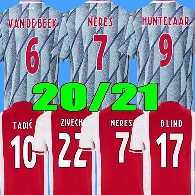 Ajax 20 21 Home Away Troisième 50e anniversaire Maillot Ajax Soccer Jersey Nouri Promes 20 21 Haut de la qualité T-shirt de football Hommes + Kit Kit