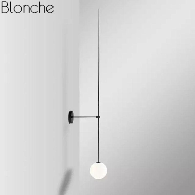 Post moderne linie wandlampe minimalismus nordic glas ball led wand sconce leichte federn badezimmer badezimmer spiegel beleuchtung loft dekor