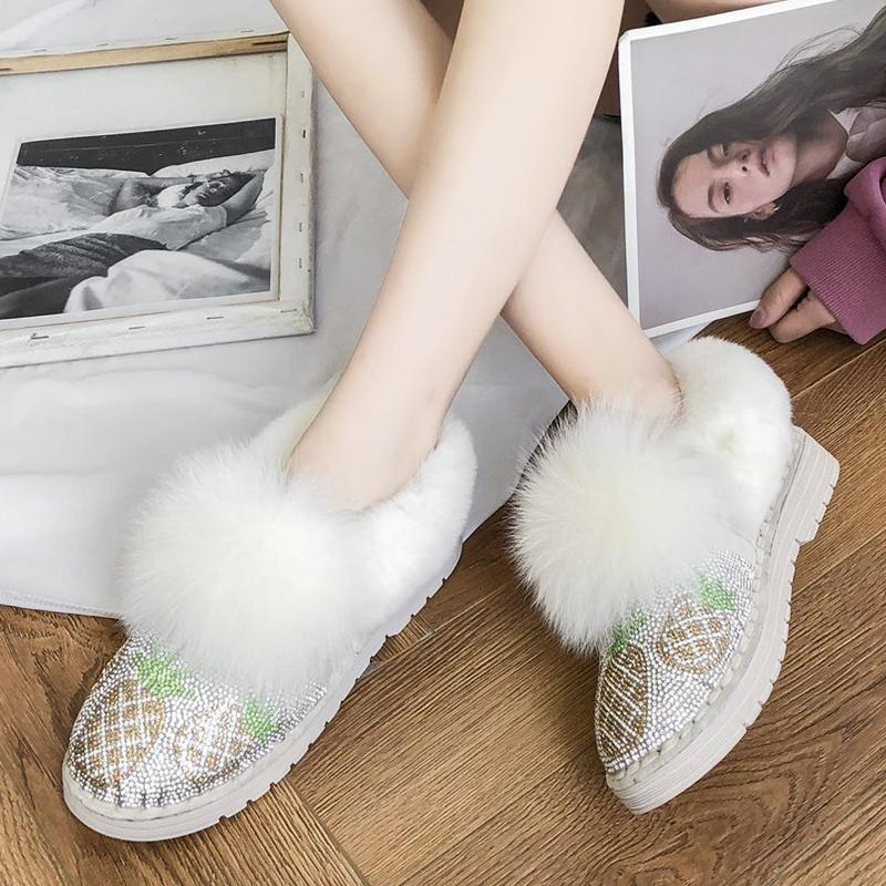 Rimosy Kabarık Kürk Sıcak Kadın Kar Botları Parlak Ananas Kristal Düz Ayak Bileği Çizmeler Kadın Kış Kısa Peluş Platformu Ayakkabı Bayanlar