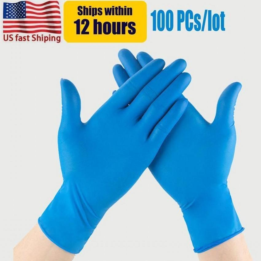 Us stock blau nitril einweg handschuhe pulverfrei (nicht latex) packung von 100 stück anti-skid anti-säure frauen erwachsene reinigung handschuhe