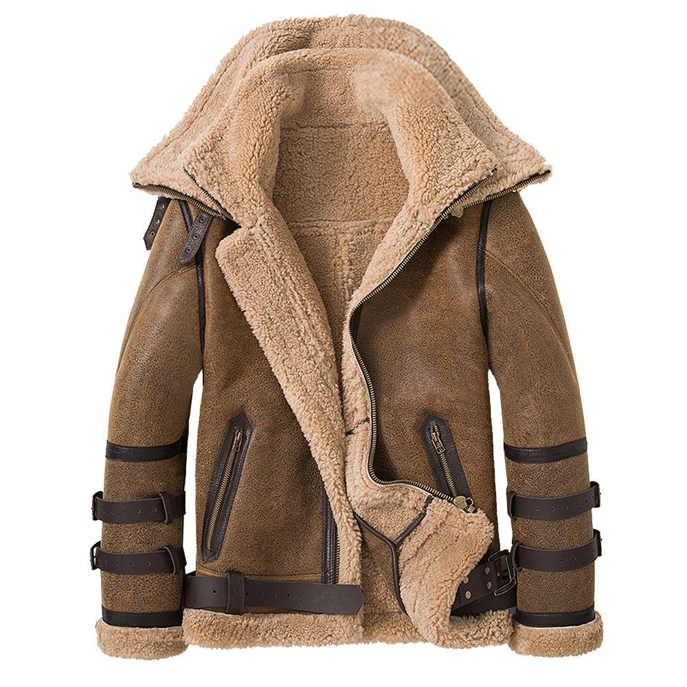 Sani NOUVEAU DOUBLE COLLARS DE DOUBLE 2020 ÉPAUT VÊTEMENT EN CUIR EN CUIR EN CUIR VESOIN DE MÂTURE DE MÈRE DE MÈRE DE MÂIL NATURELLE Manteau de fourrure Shearling Hommes Hommes Chaud Fourrure Vêtements LJ201029