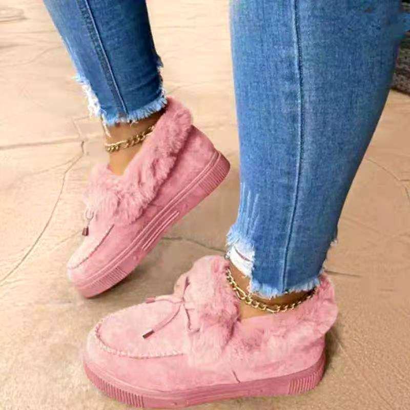 2021 Frauen Schneestiefel Dicke Plüsch Winter Warme Bohnenschuhe Mode Slip On Flat Damen Knöchelstiefel Weiche Baumwolle Gepolsterte Schuhe Dame Schuhe Wear