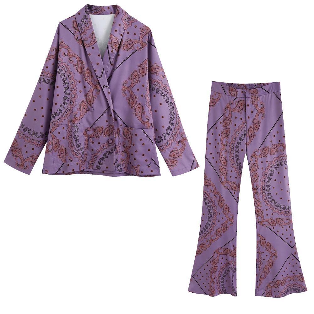 Новые летние женщины 2 штуки набор фиолетовый печать с длинным рукавом рубашка блузка длинные брюки костюм женский вскользь женщина одежда 201120