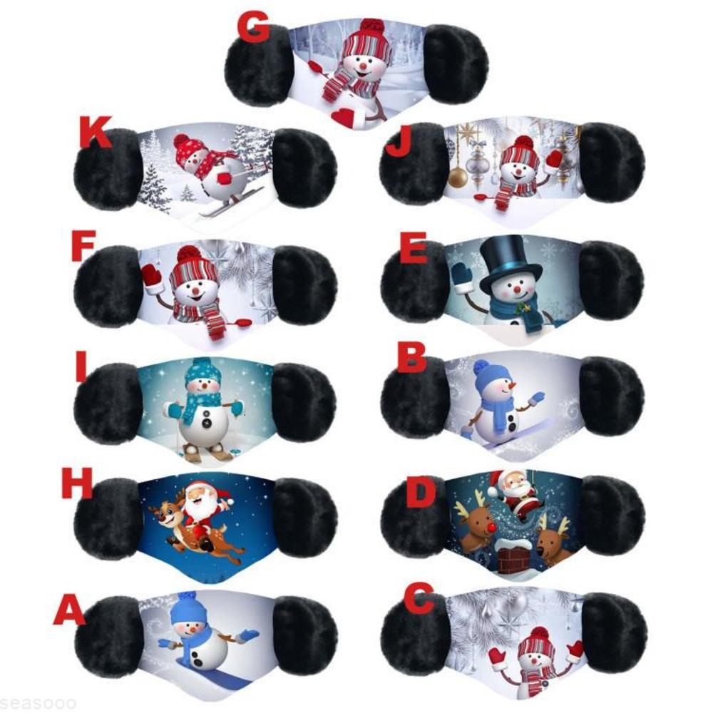 No Natal 1 design desenhos animados 2 face máscara tampa protetora protetora protetora espessa máscaras de boca máscaras de inverno-muffl01