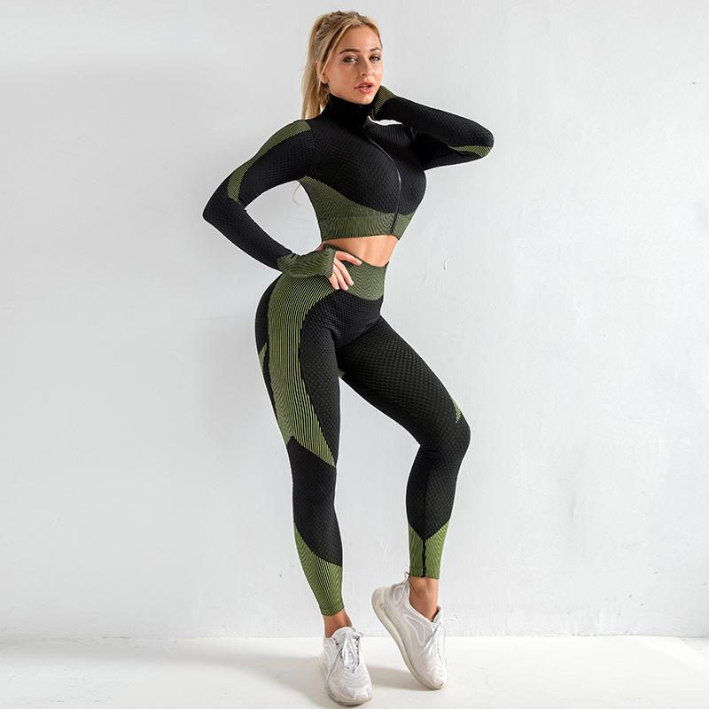 Women's Yoga Gym Set Workout Clothes for Women Sports Suit Seamless Long Sleeve Fitness Running Clothing Sportswear 2 Piece Set