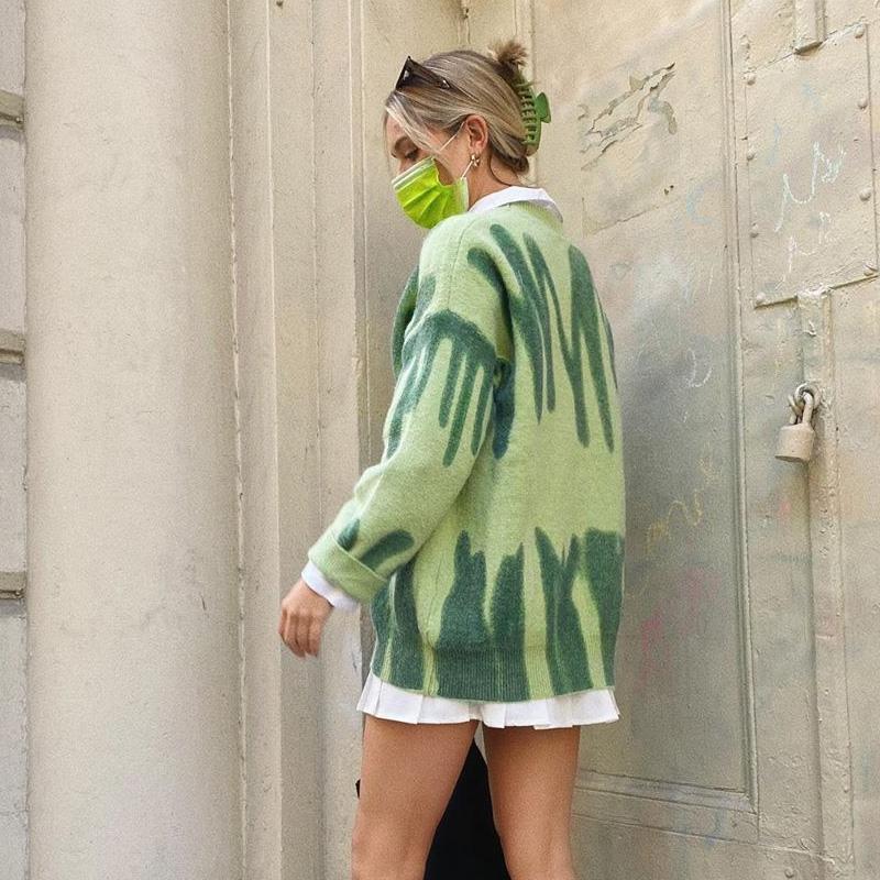 Moda Çizgili Kazak Kadın Boy Y2K Kış Örme Sıcak Kazaklar Kadın Uzun Süveter Streetwear Gevşek Giyim 2020