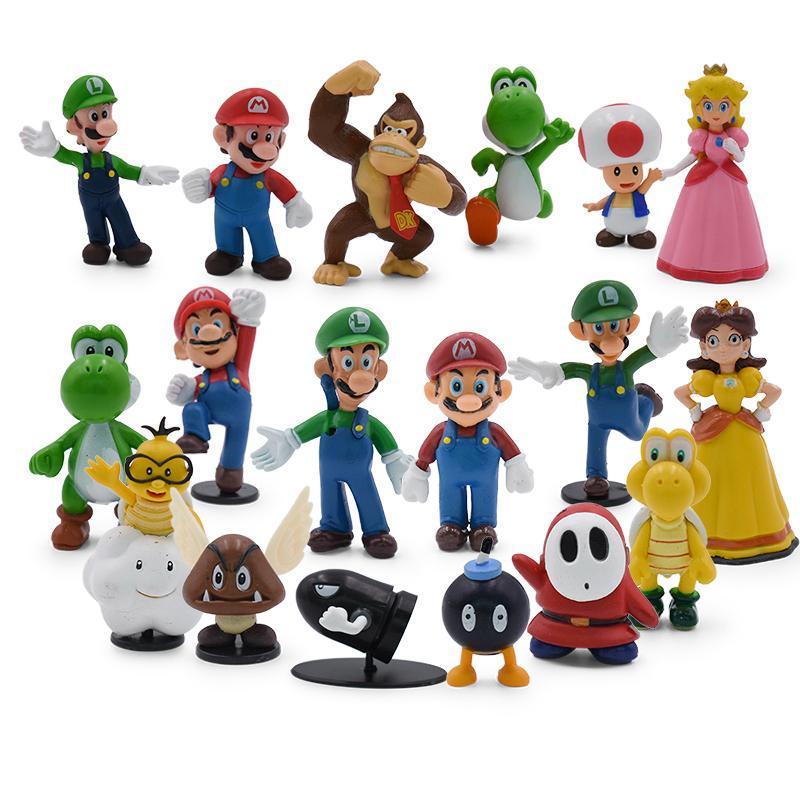 18pcs/lot Cartoon Dolls Mario Bros Figura Yoshi Peach Princess Luigi Shy Guy Odyssey Donkey Kong Pvc Action Figure Model toys Z1120