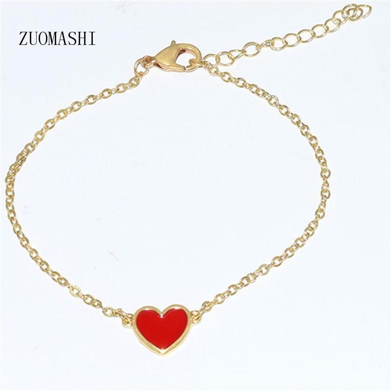 Neue Goldfarbe Herz Armband Multicolor Seil Einstellbare Schnur Glückliches Armband für Frauen Kinder