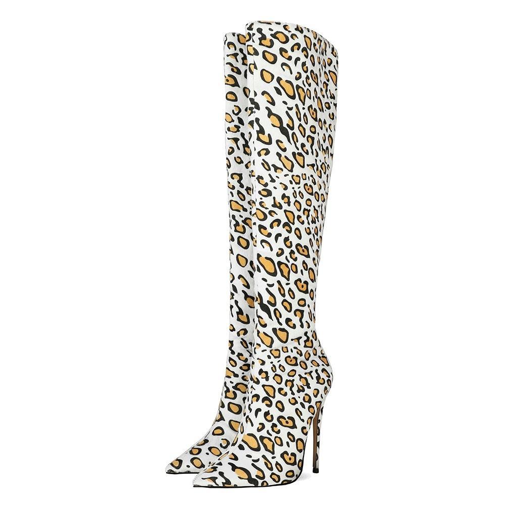 2021 kadın diz çizme kadın at-el benzeri leopar malzeme izlenim topuklu çevrimiçi uzun kadın ayakkabı tzly