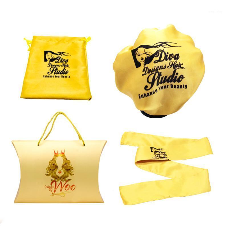 Qeleven Oem Satin Scawistring Pocket Hair Packaging Sacchetti di stoccaggio di seta Box Scatola Capelli Sciarpa Bonnet Wig Set di imballaggio1