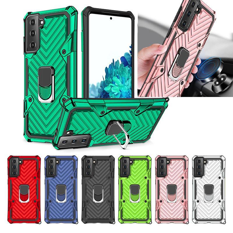 Auto Halter Magnet Saug Hybridschicht Stoßfest Hülle für Samsung Galaxy S21 Ultra S21 Plus Heavy Duty Pact Hard PC + TPU Fingerringabdeckung