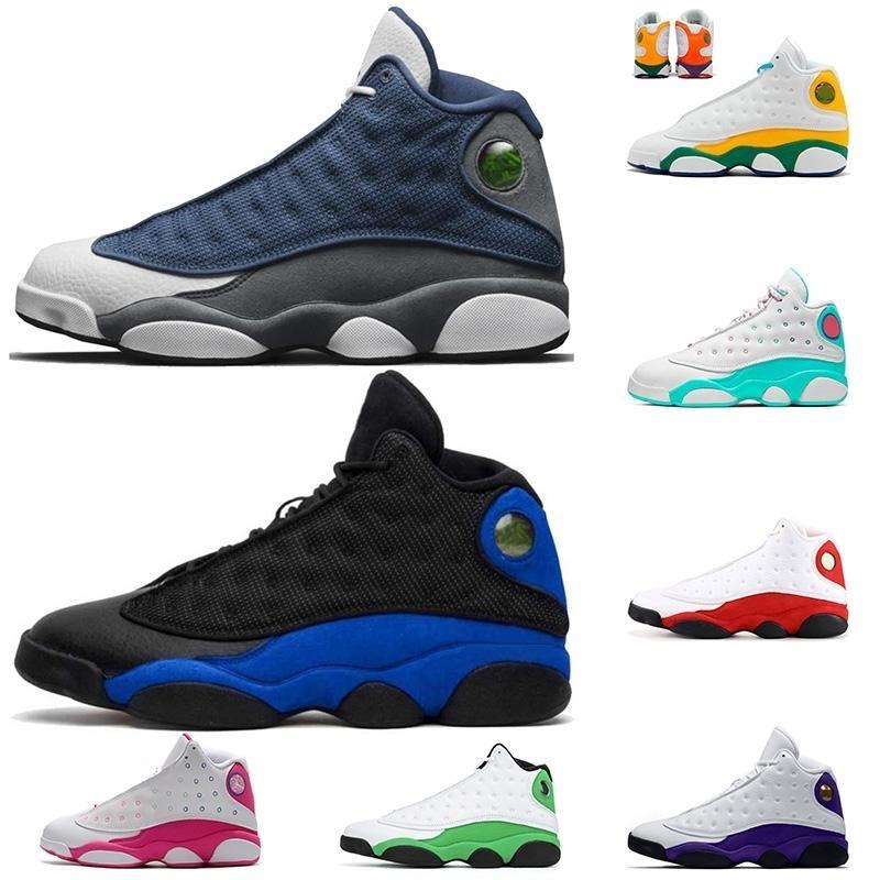 2020 Moda Retro Basketbol Ayakkabı Bred Jumpman 13 Flint 13 Mens13s Lakers Mahkemesi Mor Şanslı Yeşil Eğitmenler Bayan Spor ayakkabılar boyutu 13 mens