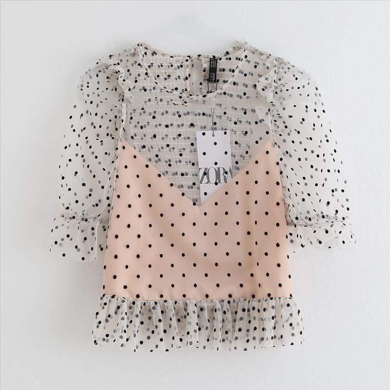 Bayan Giyim Yaz 2021 Yeni Casual Yaka Yedi Kollu Lamine Dekoratif Dalga Nokta Mesh Üst Gömlek Drop Shipping