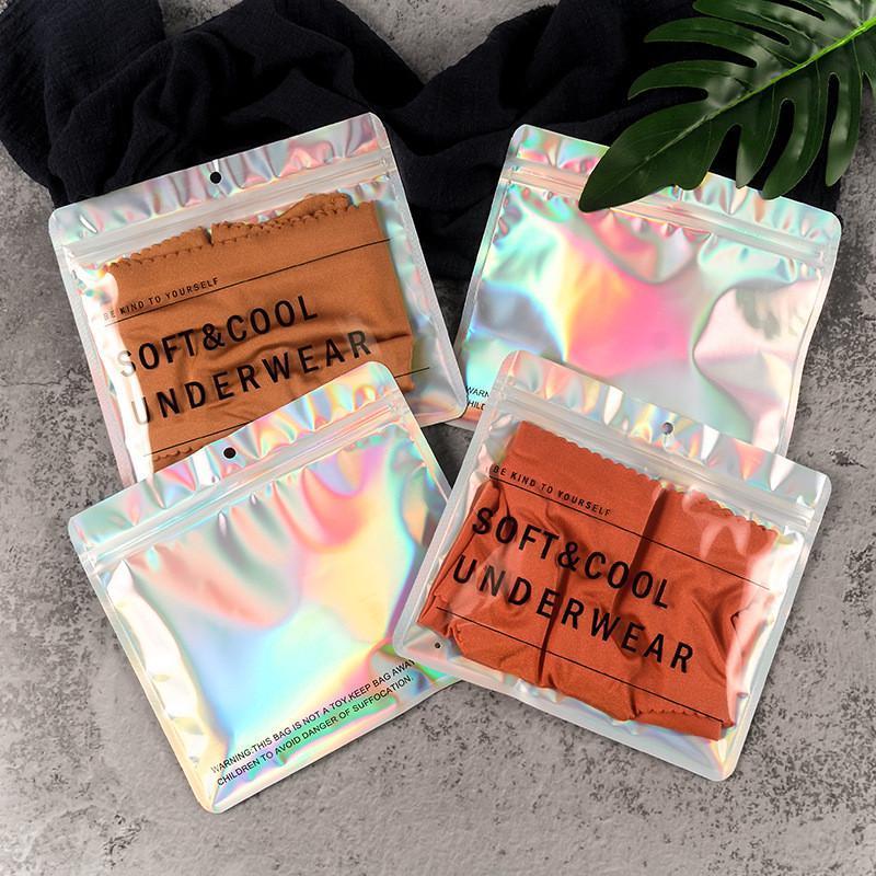 100 шт. / Лот Алюминиевая фольга Голограмма нижнее белье сумка 18x16см плоский водонепроницаемый под тканью сумка с висящими отверстие AHA2514