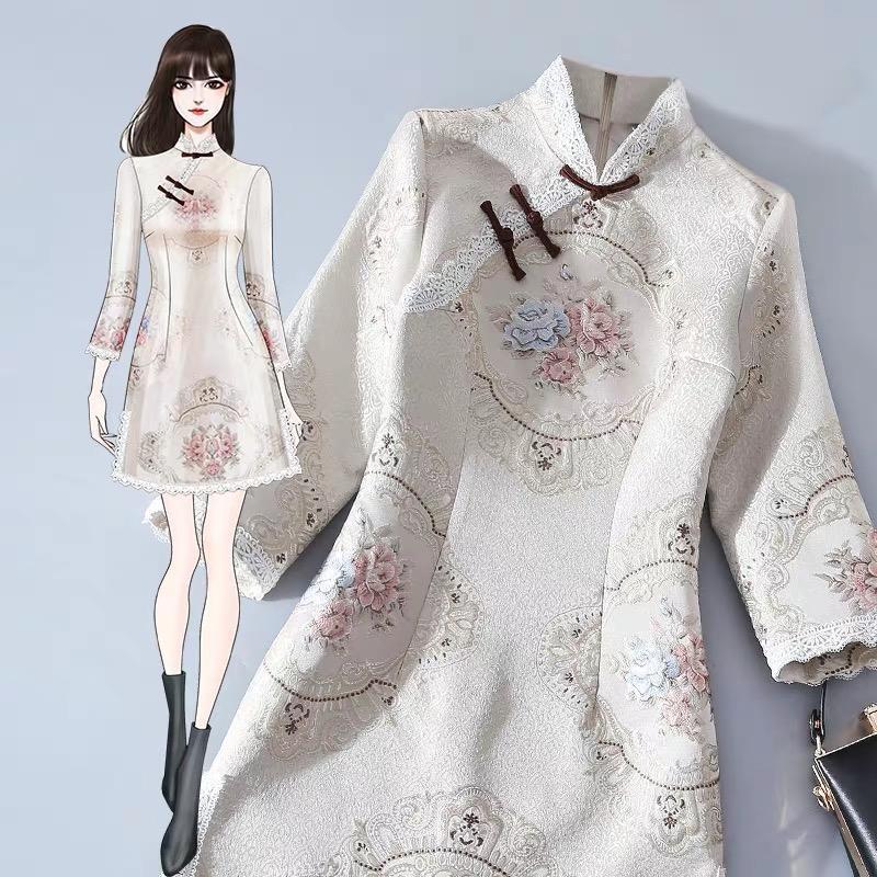 2020 Chinesische Stil Vintage Frauen Kleider Cheongsam Kleid