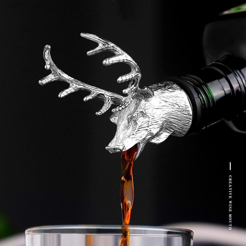 Tapa de la botella de vino Tapón de tope de sput licor Licor Licor Zinc Alloy Deer STAP Head Secníaco Vino Aeradores Bar Herramientas Barware Barras Accesorios