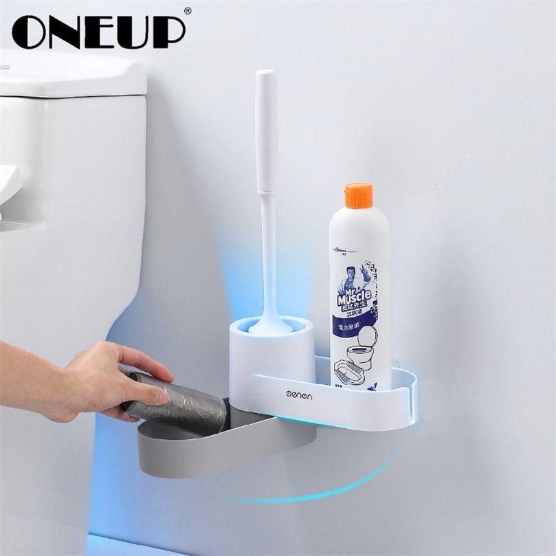 Suporte de cabeça de borracha Oneup TPR TPR com base Base de armazenamento Escova de limpeza do piso para o banheiro WC Acessórios para banheiro 201214
