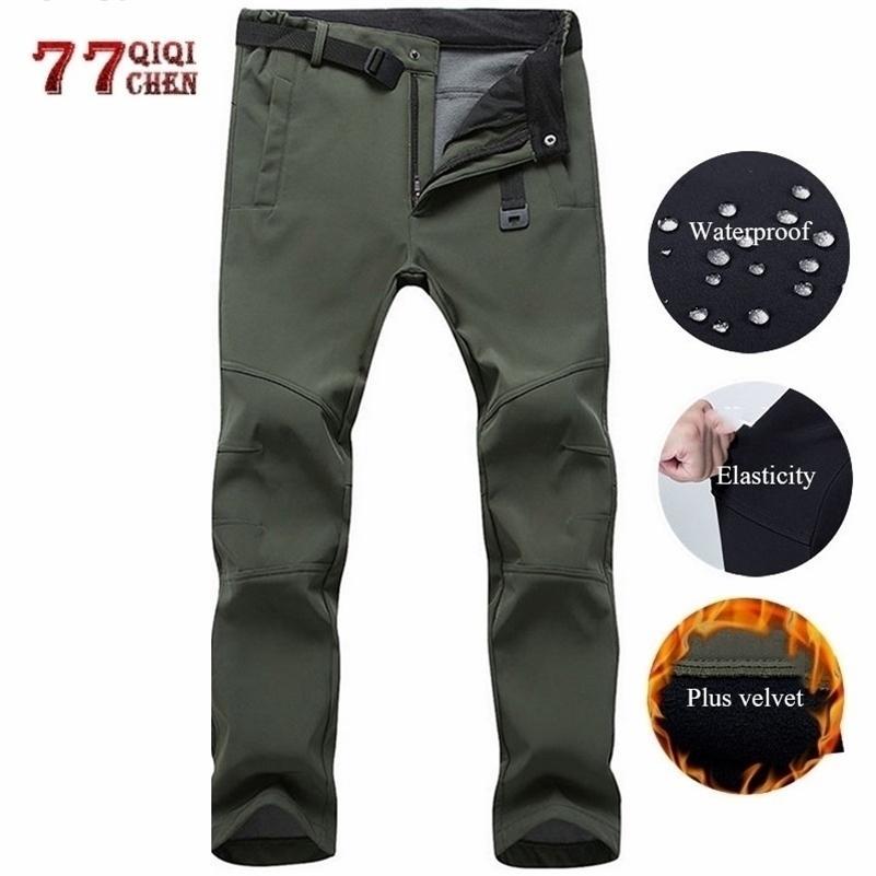 Pantalon décontracté étanche à l'étanchéité des hommes Hiver Pantalon long Pantalon Pantalon avec pantalons de survêtement de l'armée tactique Travail militaire Cargo Pantalons 5XL 201109