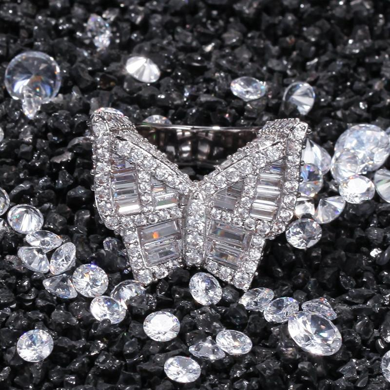 Diamond Butterfly Mens CZ Gelado Anéis Novo Moda Hip Hop Ouro Anel de Prata Jóias
