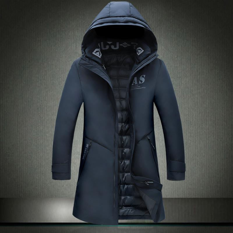 2019 nuovo uomo con cappuccio in inverno giù uomo lungo parka giacca spesso cappello cappotto mans vestiti caldi 9919