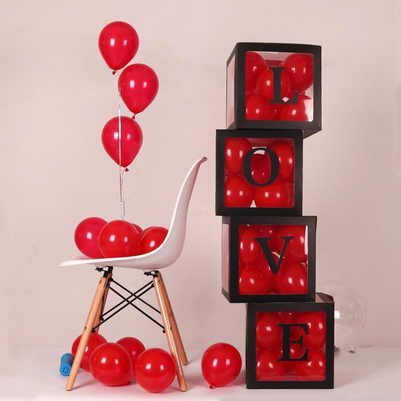 4 teile / paket transparent boomoons box party dekorationen liefert baby liebe geschenk box geburtstag hochzeitsfest ballonboxen