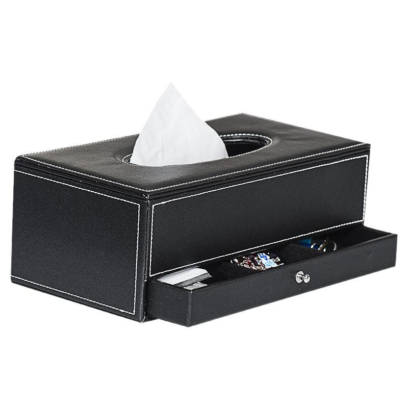 Ящики тканей Салфетки Производитель стола коробка крышка ящик бумажный полотенце дистанционного управления держатель PU домашний офис