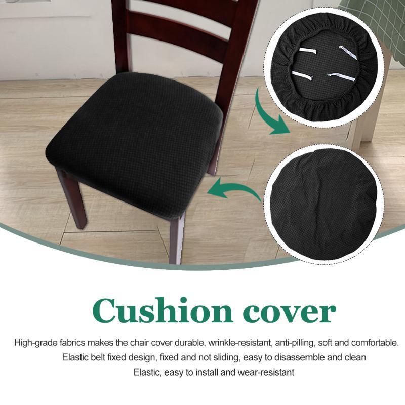 Décoration à la maison rembourrée Salle à manger Coussin amovible Screencovers Stretch Chaise Solide Couvercle de siège Facile Installer avec les liens
