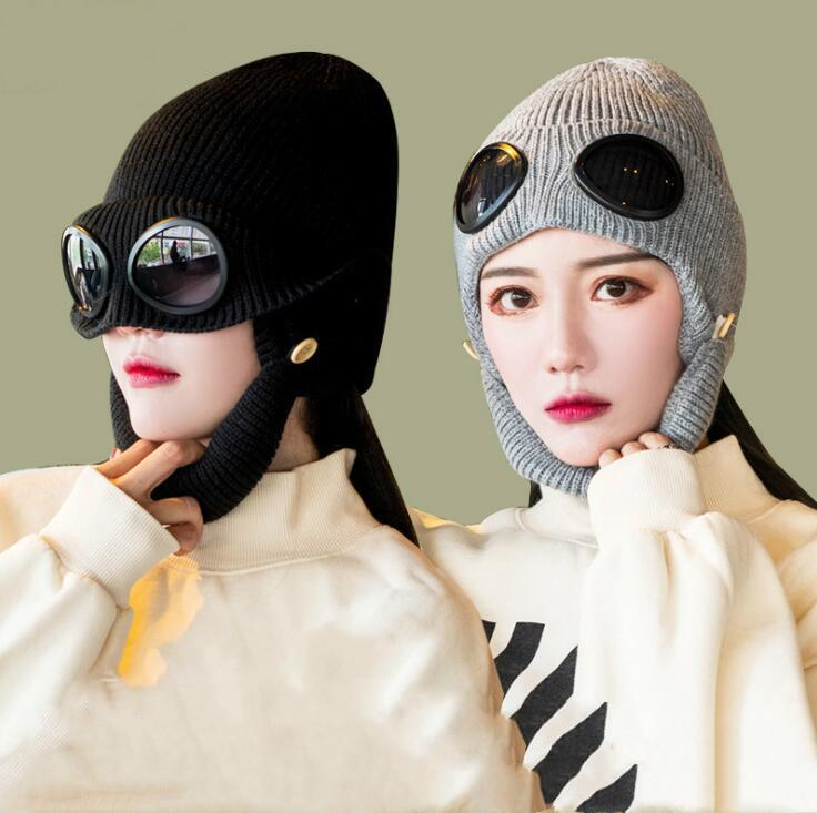 Cappellini invernali Cappello da maglieria Cappello da sci in lana Sunglasses Filato Cappelli a maglia Fotografia Sport Cappelli di lana Skull Berretto Berretto Occhiali Pilot Caps Party Caldo DWB3443 BBOLD