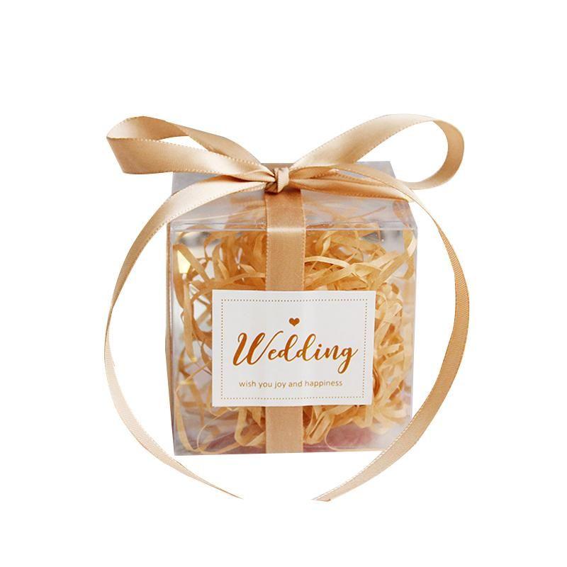 25pcs PVC Scatola caramella quadrata con nastro compleanno festa evento baby shower decorazione matrimonio damigella d'onore regalo borsa imballaggio fornitura