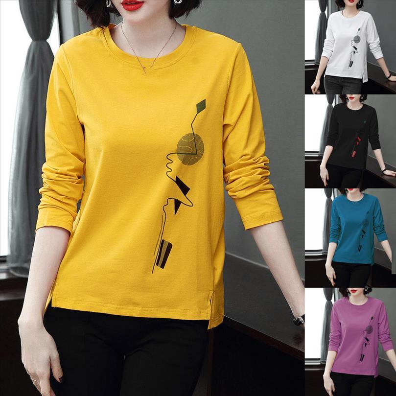 40 мода женщин повседневная длинный рукав графический напечатан o шеи блузка осень элегантные женские рубашки короткие ежедневные топы пуловера
