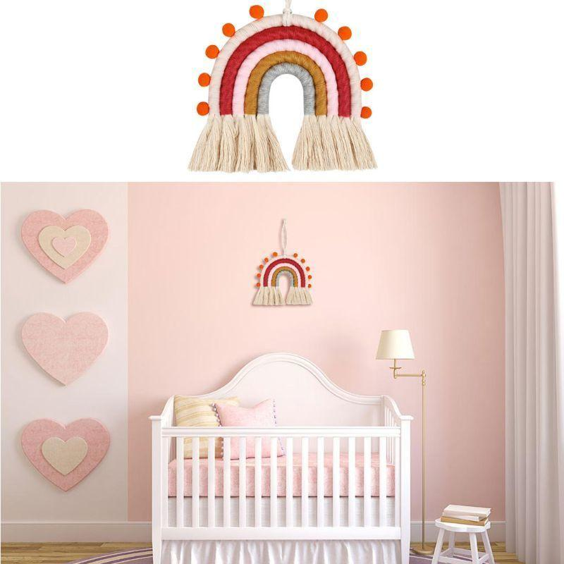 INS Nordic Woven Rainbow Tapestry Cotton Hand-knitted Kids Room Decoration Wall Hanging Ornaments Photo Props Baby Gym Toys LJ201124