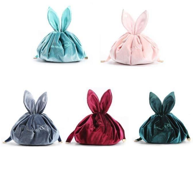 Lazy Cosmetic Bag Velvet Rabbit Makeup Bags Drawstring Wash Pouch Women String Bunny Purses Makeup Organizer Storage Bags