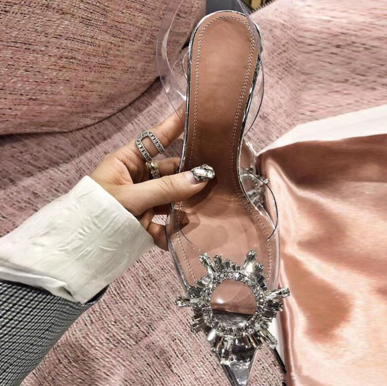 Ücretsiz Kargo Moda Kadınlar Lady Gümüş Temizle PVC Patent Deri Strass Kristal Yüksek Topuk Ayakkabı Seksi Parti Ayakkabı Sandalet