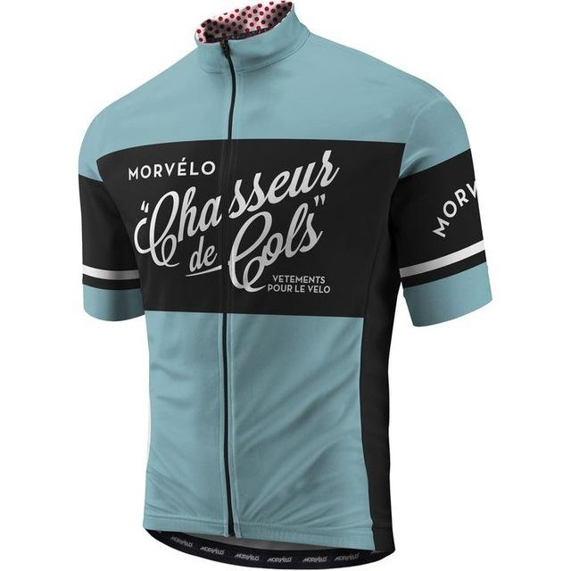 Hombres Verano Morvelo Manga corta Ciclismo Jerseys Bike Ropa Camisa Tops transpirable Deporte MTB Ropa de bicicleta Q1205