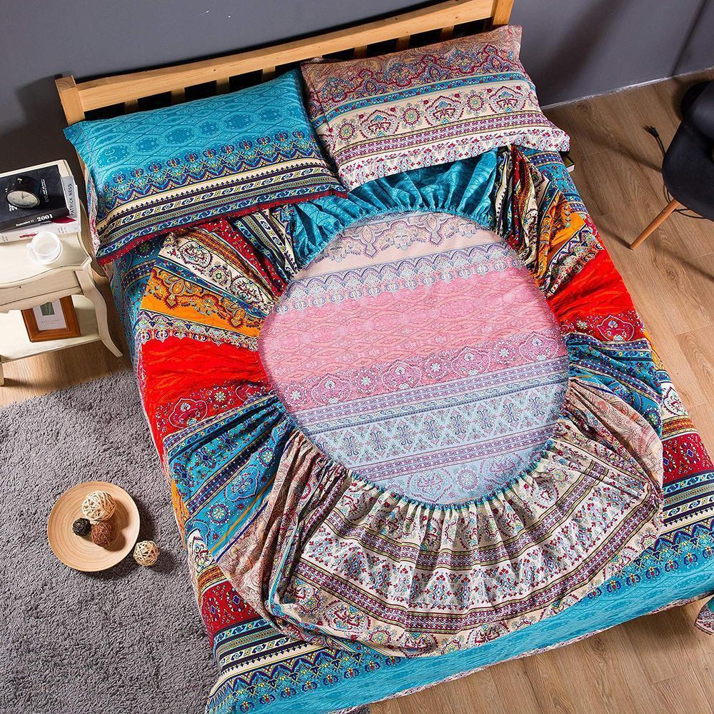 Богемский хлопок установленный листовой матрас наматушки наволочка домашняя текстильная королева размером с кроватью постельного белья 201104