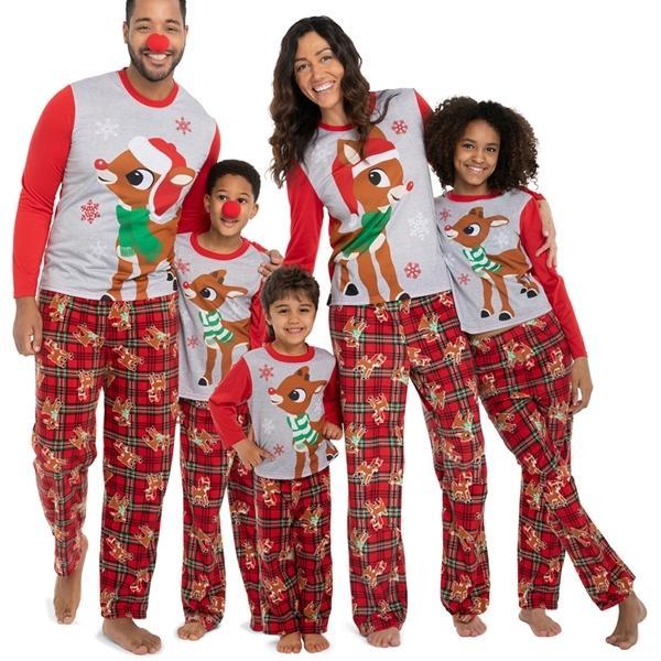Pajamas Set Moose Adult Women Kids New 2020 Christmas Deer Nightwear Pyjamas Matching Family Outfits Q1203