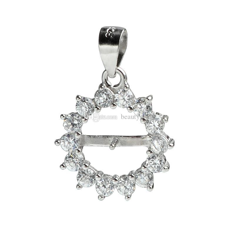 Очистить кубический цирконий окруженный круг 925 стерлингового серебра серебряный кулон для жемчуга подвесные монтажные 5 штук