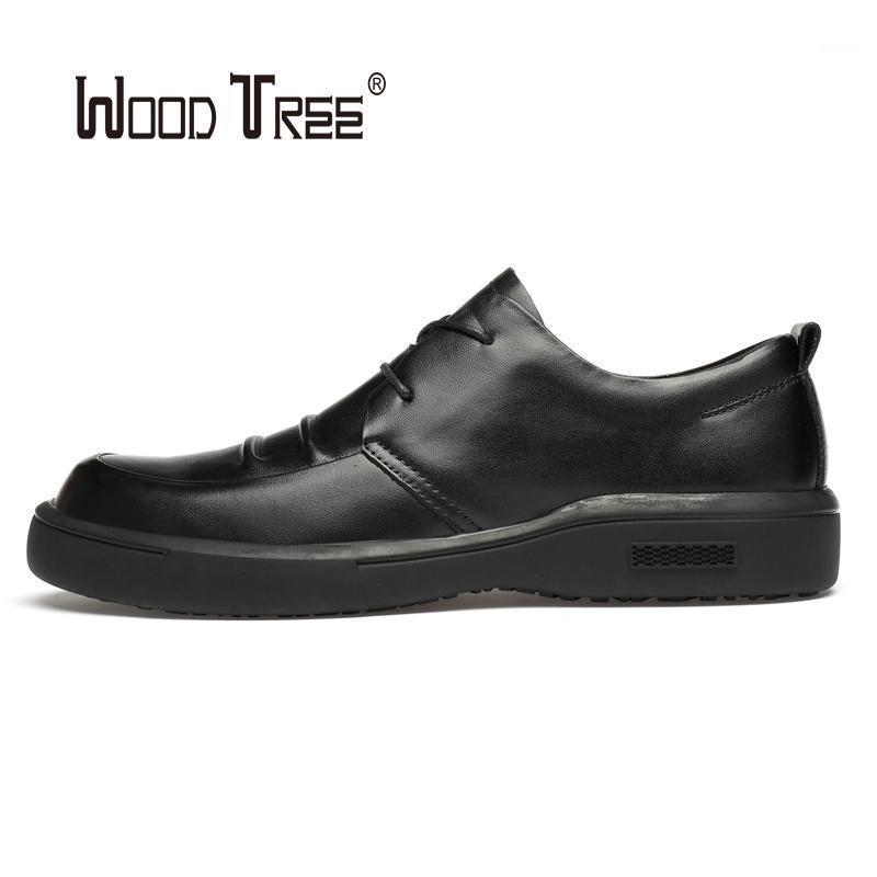 Woodtree Moda para hombre zapatos de cuero de boda vestido de negocios con clubes nocturnos Oxfords transpirable trabajando encaje para arriba zapatos1