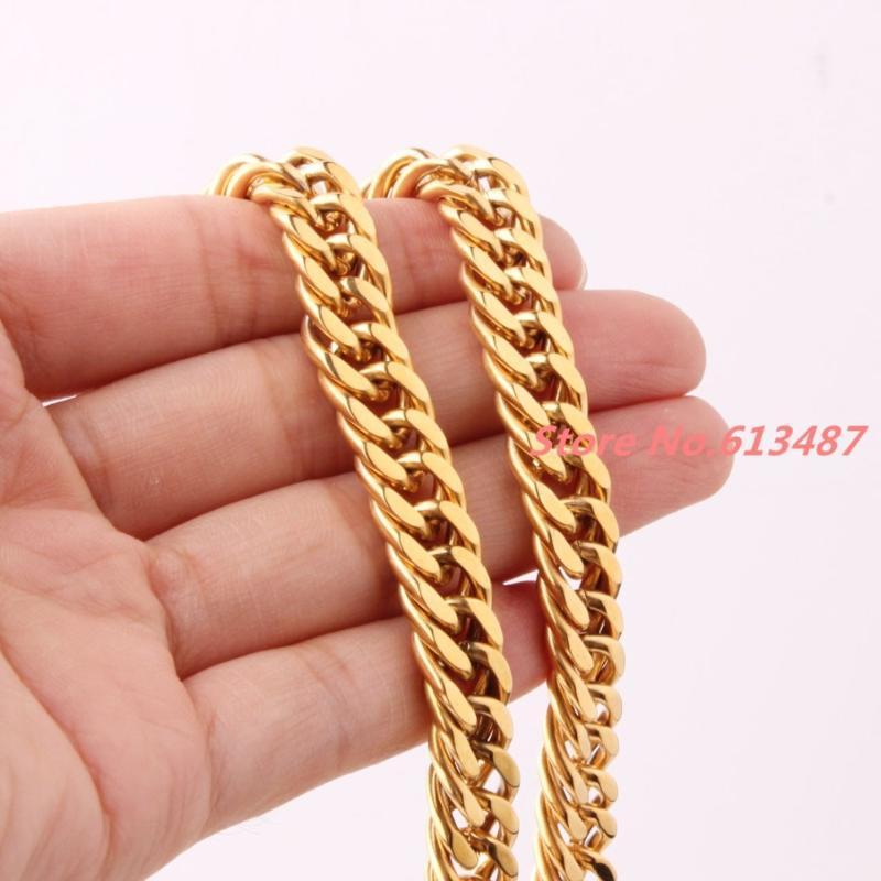 """Gioielli all'ingrosso 7-40 """"10mm oro in acciaio inox cordino cubano catena cubana collana o bracciale da uomo miglior regalo"""