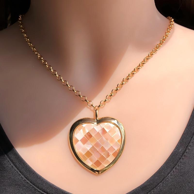 펜던트 목걸이 럭셔리 골드 컬러 큰 심장 진주 바다 셸 성명 여성 패션 쥬얼리