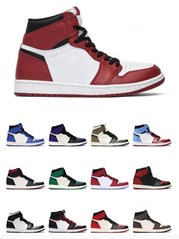 2020 Новые баскетбольные туфли 1s Новый Высокий Королевский Носок Черный Белый ржавчина Розовый галстук краситель Чикаго Свет дыма Серый Спортивные кроссовки 36-46