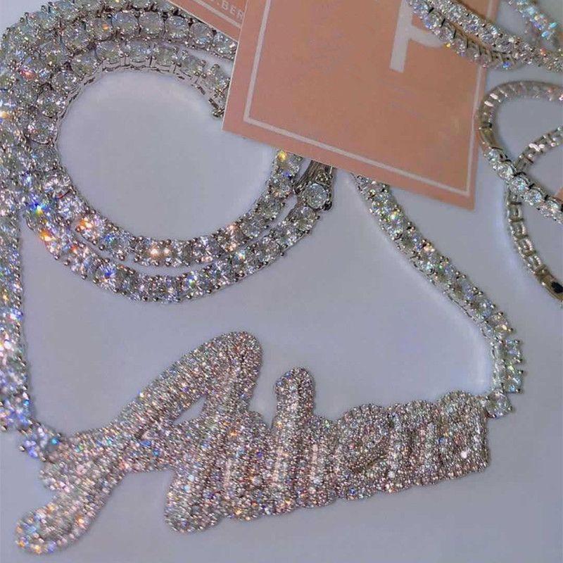 الذهب والفضة مطلي بلينغ تشيكوسلوفاكيا اسم مخصص إلكتروني قلادة قلادة مع 4 ملليمتر 20 بوصة تشيكوسلوفاكيا سلسلة التنس للرجال النساء