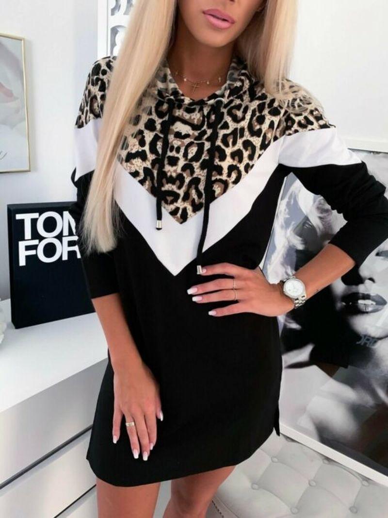 Frauen Leopard mit Kapuze Sweatshirt Kleid Elegante Langarm Herbst Winter Pullover Top Damen Mode Dames Lose Streetwear